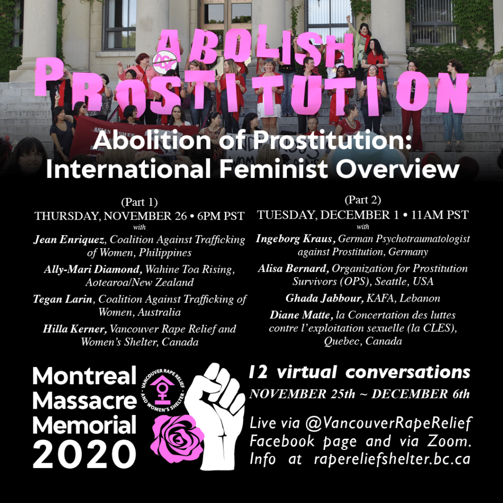 Poster Montreal Massacre Memorial -Abolition of Prostitution