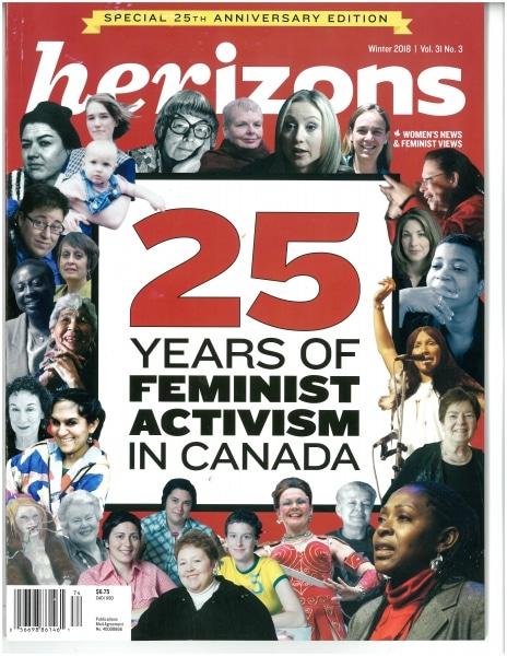 Cover of Herizons Magazine celebrating 25 years of activism